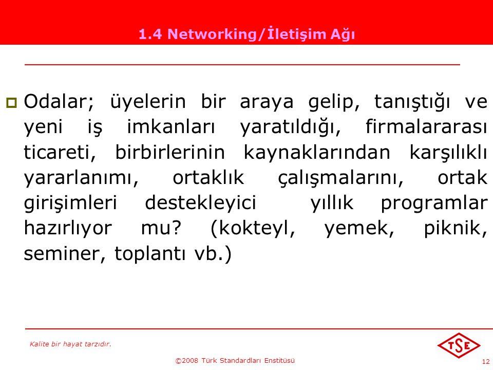 Kalite bir hayat tarzıdır. ©2008 Türk Standardları Enstitüsü 12 1.4 Networking/İletişim Ağı OOdalar; üyelerin bir araya gelip, tanıştığı ve yeni iş