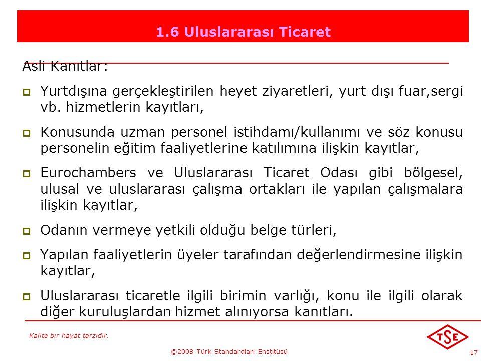 Kalite bir hayat tarzıdır. ©2008 Türk Standardları Enstitüsü 17 1.6 Uluslararası Ticaret Asli Kanıtlar: YYurtdışına gerçekleştirilen heyet ziyaretle