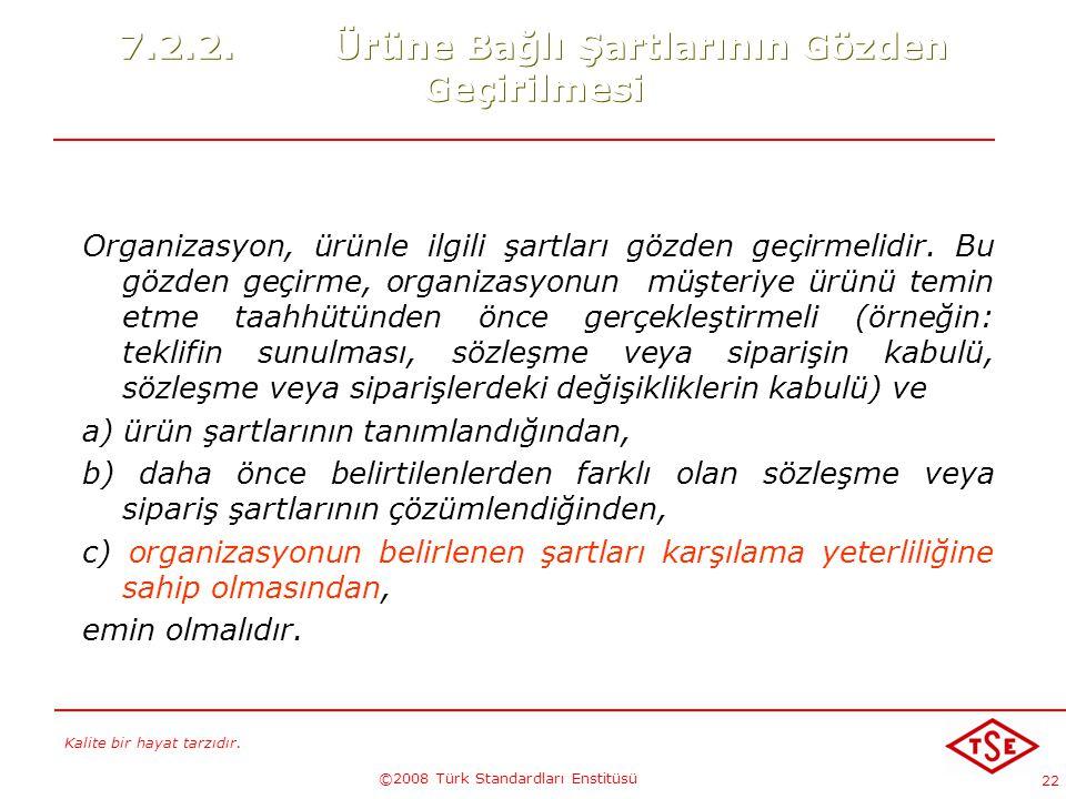 Kalite bir hayat tarzıdır. ©2008 Türk Standardları Enstitüsü 22 7.2.2.Ürüne Bağlı Şartlarının Gözden Geçirilmesi Organizasyon, ürünle ilgili şartları