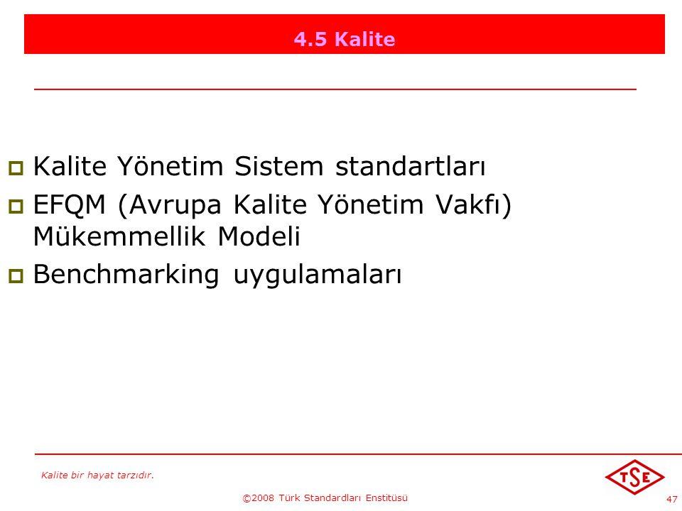 Kalite bir hayat tarzıdır. ©2008 Türk Standardları Enstitüsü 47 4.5 Kalite KKalite Yönetim Sistem standartları EEFQM (Avrupa Kalite Yönetim Vakfı)