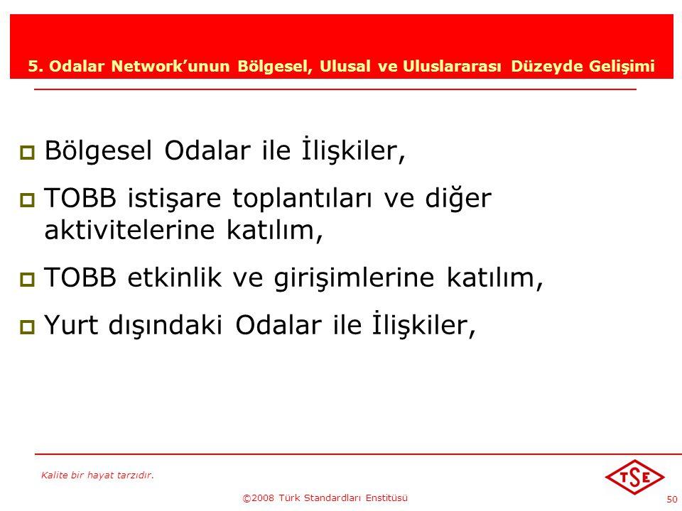 Kalite bir hayat tarzıdır. ©2008 Türk Standardları Enstitüsü 50 5. Odalar Network'unun Bölgesel, Ulusal ve Uluslararası Düzeyde Gelişimi BBölgesel O