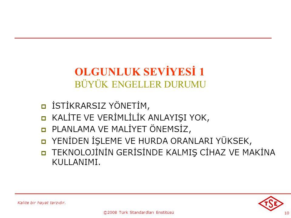 Kalite bir hayat tarzıdır. ©2008 Türk Standardları Enstitüsü 10  İSTİKRARSIZ YÖNETİM,  KALİTE VE VERİMLİLİK ANLAYIŞI YOK,  PLANLAMA VE MALİYET ÖNEM