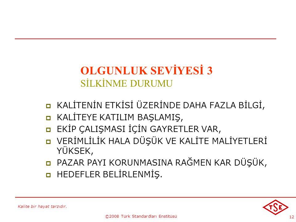 Kalite bir hayat tarzıdır. ©2008 Türk Standardları Enstitüsü 12 KALİTE GELECEKTİR !...-3 OLGUNLUK SEVİYESİ 3 SİLKİNME DURUMU  KALİTENİN ETKİSİ ÜZERİN