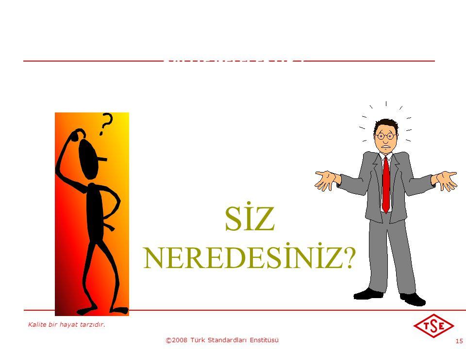 Kalite bir hayat tarzıdır. ©2008 Türk Standardları Enstitüsü 15 KALİTE GELECEKTİR !... SİZ NEREDESİNİZ?