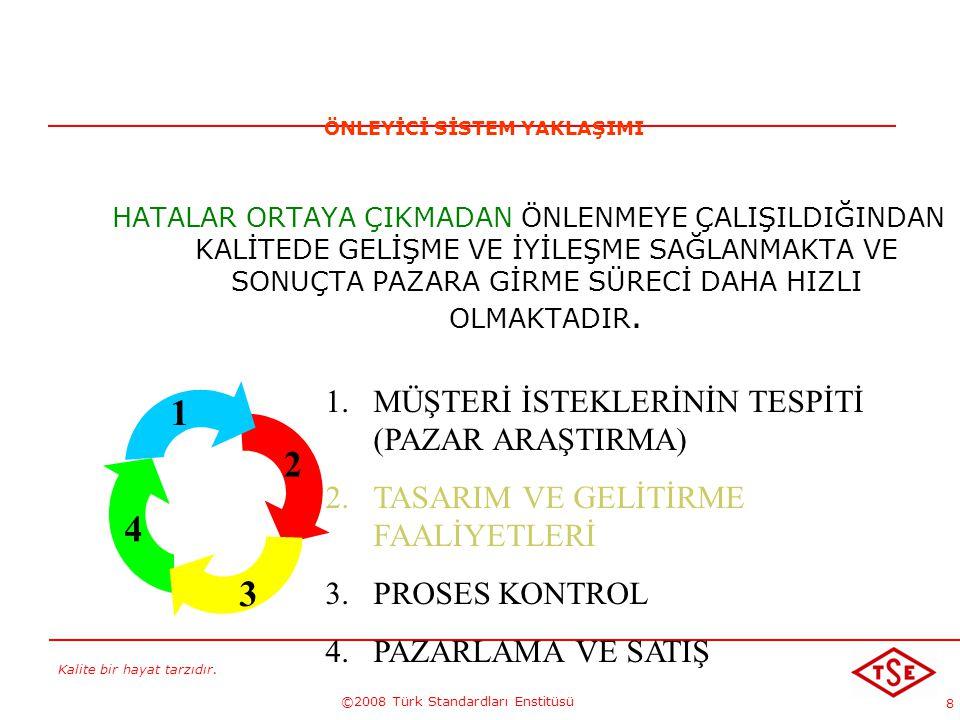 Kalite bir hayat tarzıdır. ©2008 Türk Standardları Enstitüsü 8 HATALAR ORTAYA ÇIKMADAN ÖNLENMEYE ÇALIŞILDIĞINDAN KALİTEDE GELİŞME VE İYİLEŞME SAĞLANMA