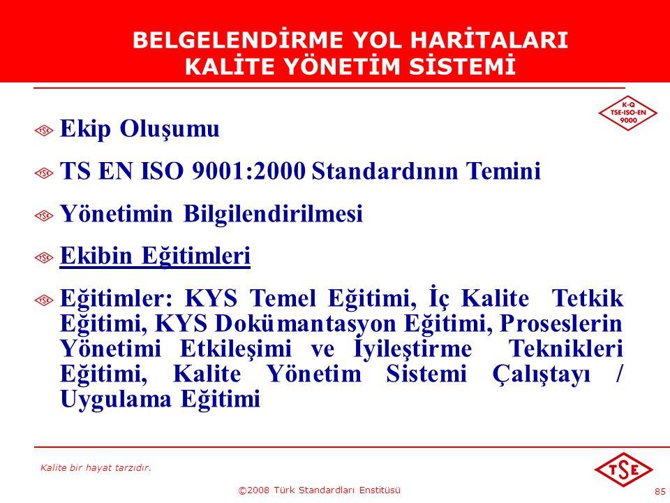 Kalite bir hayat tarzıdır. ©2008 Türk Standardları Enstitüsü 85 BELGELENDİRME YOL HARİTALARI KALİTE YÖNETİM SİSTEMİ Ekip Oluşumu TS EN ISO 9001:2000 S
