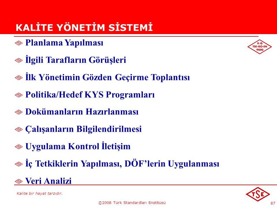 Kalite bir hayat tarzıdır. ©2008 Türk Standardları Enstitüsü 87 KALİTE YÖNETİM SİSTEMİ Planlama Yapılması İlgili Tarafların Görüşleri İlk Yönetimin Gö