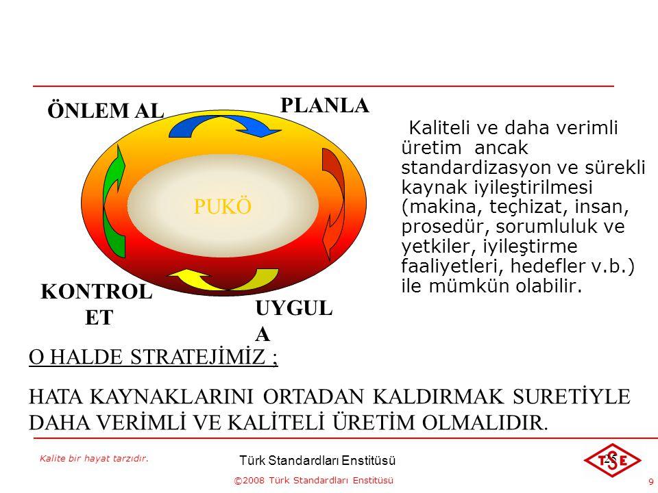 Kalite bir hayat tarzıdır. ©2008 Türk Standardları Enstitüsü 9 KALİTE VE VERİMLİLİK Kaliteli ve daha verimli üretim ancak standardizasyon ve sürekli k