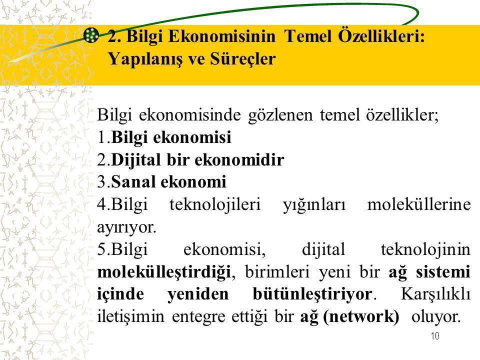 10 2. Bilgi Ekonomisinin Temel Özellikleri: Yapılanış ve Süreçler Bilgi ekonomisinde gözlenen temel özellikler; 1.Bilgi ekonomisi 2.Dijital bir ekonom