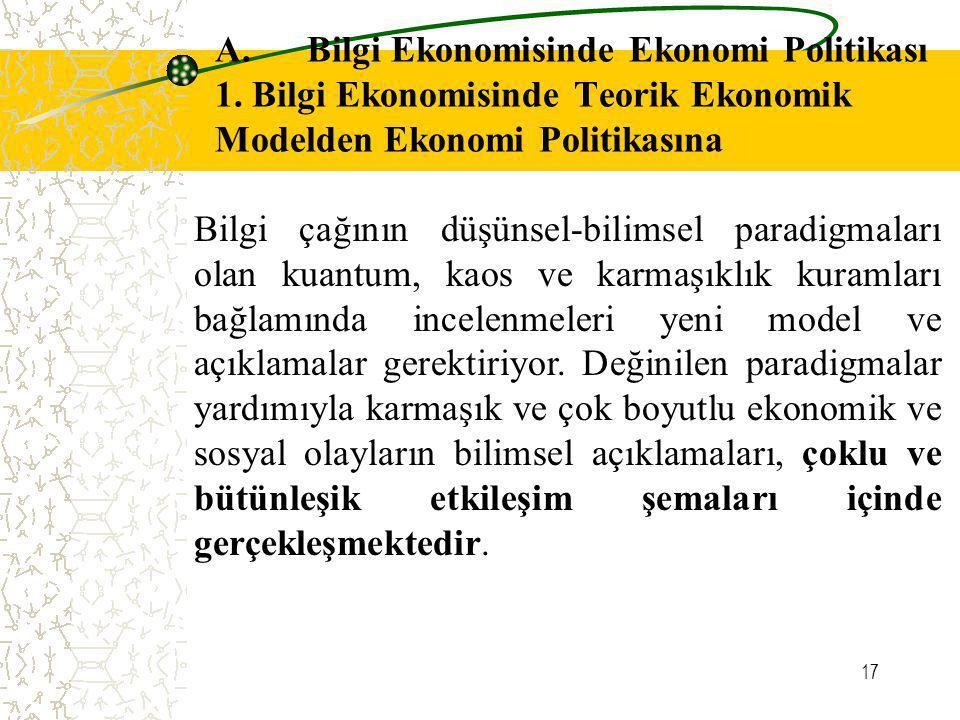 17 A. Bilgi Ekonomisinde Ekonomi Politikası 1. Bilgi Ekonomisinde Teorik Ekonomik Modelden Ekonomi Politikasına Bilgi çağının düşünsel-bilimsel paradi