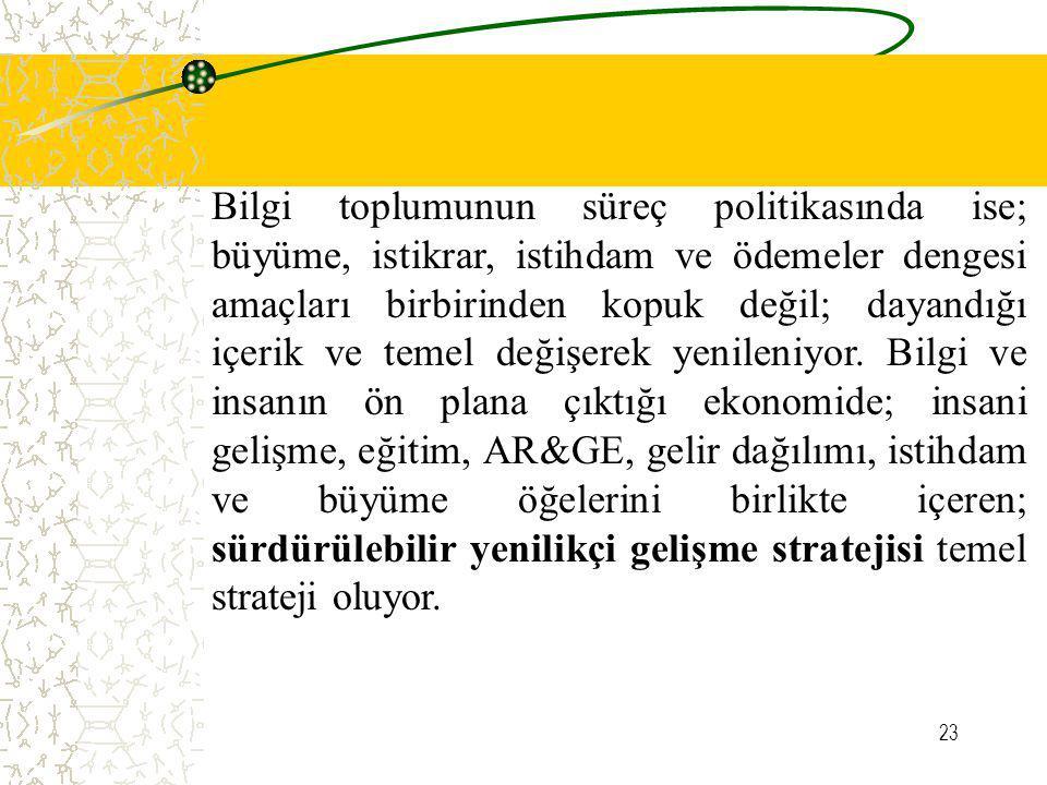 23 Bilgi toplumunun süreç politikasında ise; büyüme, istikrar, istihdam ve ödemeler dengesi amaçları birbirinden kopuk değil; dayandığı içerik ve teme