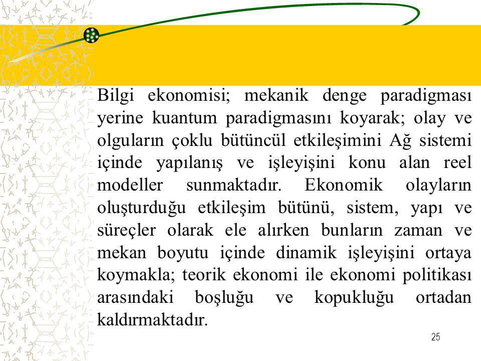 25 Bilgi ekonomisi; mekanik denge paradigması yerine kuantum paradigmasını koyarak; olay ve olguların çoklu bütüncül etkileşimini Ağ sistemi içinde ya
