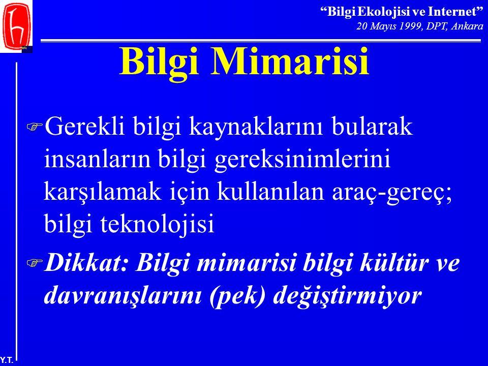 """""""Bilgi Ekolojisi ve Internet"""" 20 Mayıs 1999, DPT, Ankara Y.T. Bilgi Mimarisi F Gerekli bilgi kaynaklarını bularak insanların bilgi gereksinimlerini ka"""