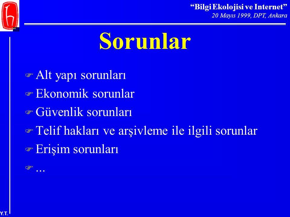 """""""Bilgi Ekolojisi ve Internet"""" 20 Mayıs 1999, DPT, Ankara Y.T. Sorunlar F Alt yapı sorunları F Ekonomik sorunlar F Güvenlik sorunları F Telif hakları v"""