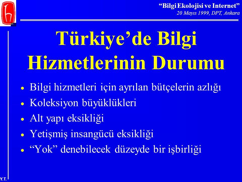 """""""Bilgi Ekolojisi ve Internet"""" 20 Mayıs 1999, DPT, Ankara Y.T. Türkiye'de Bilgi Hizmetlerinin Durumu  Bilgi hizmetleri için ayrılan bütçelerin azlığı"""