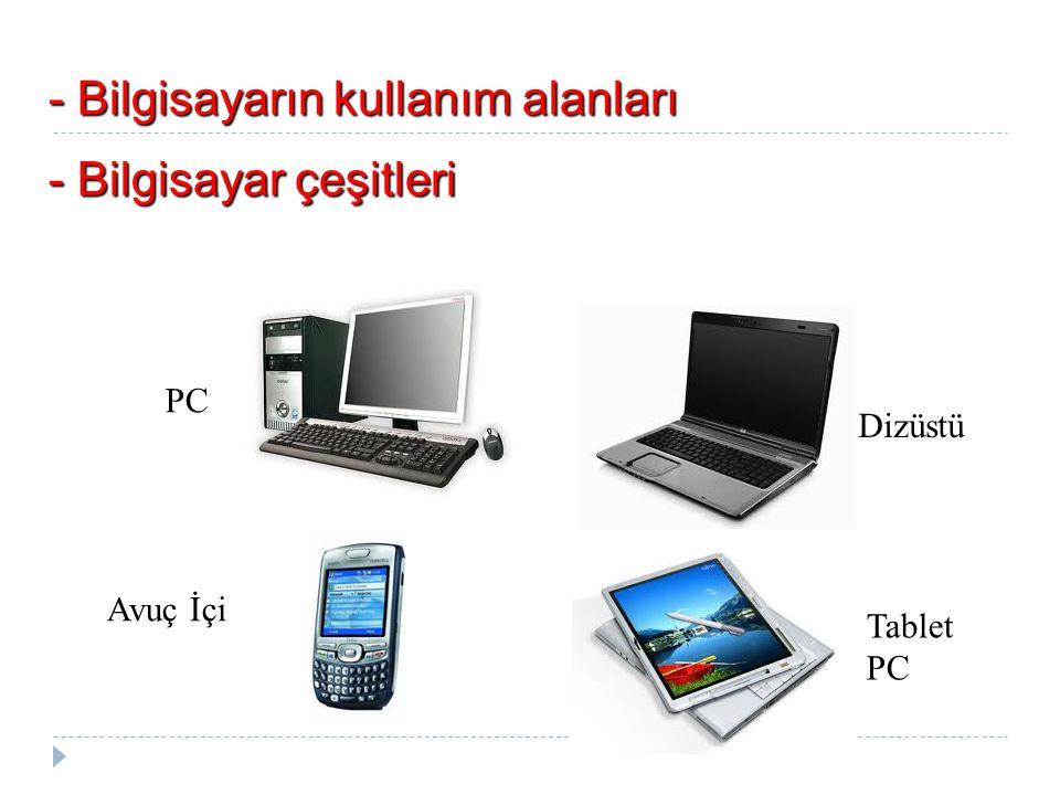 PC Avuç İçi Dizüstü Tablet PC - Bilgisayar çeşitleri - Bilgisayarın kullanım alanları