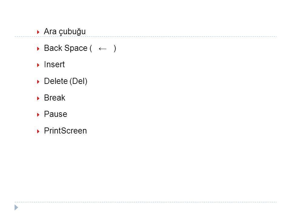  Ara çubuğu  Back Space ( ← )  Insert  Delete (Del)  Break  Pause  PrintScreen