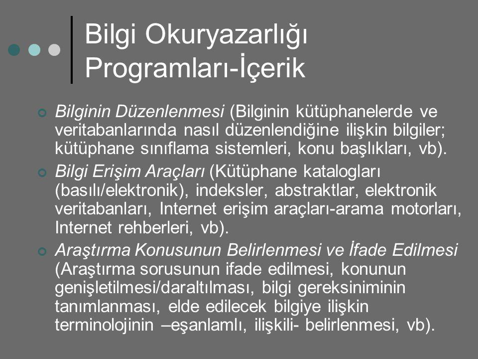 Bilgi Okuryazarlığı Programları-İçerik Bilginin Düzenlenmesi (Bilginin kütüphanelerde ve veritabanlarında nasıl düzenlendiğine ilişkin bilgiler; kütüp