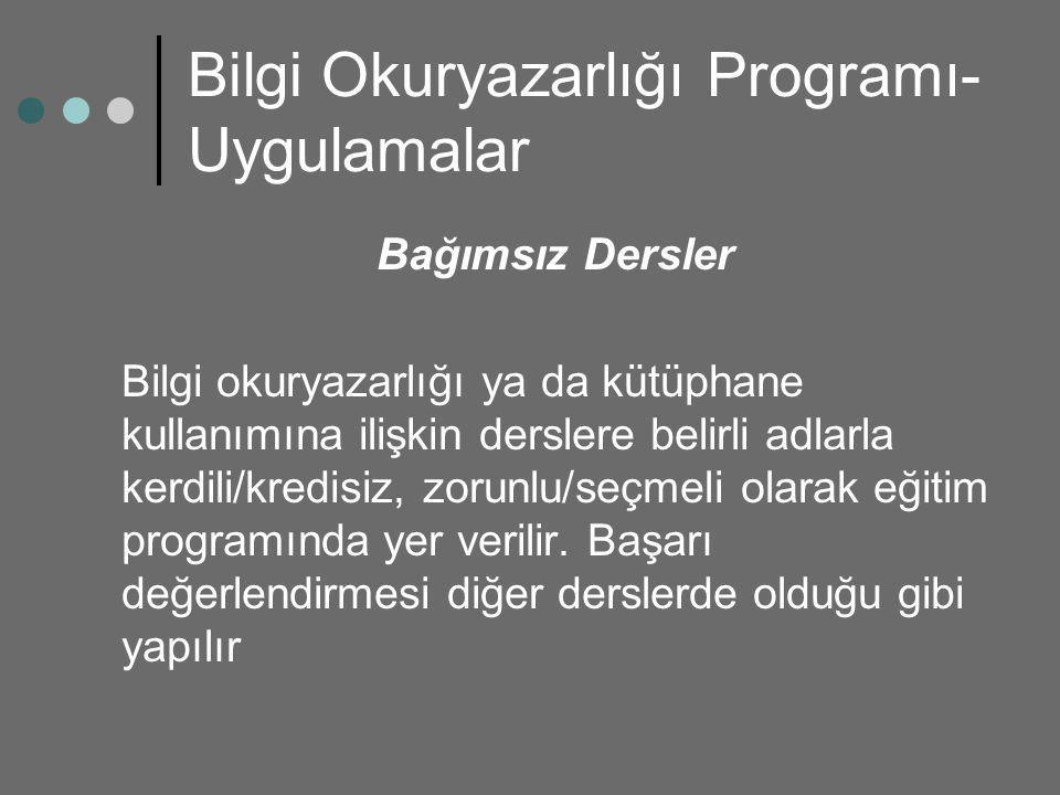 Bilgi Okuryazarlığı Programı- Uygulamalar Bağımsız Dersler Bilgi okuryazarlığı ya da kütüphane kullanımına ilişkin derslere belirli adlarla kerdili/kr