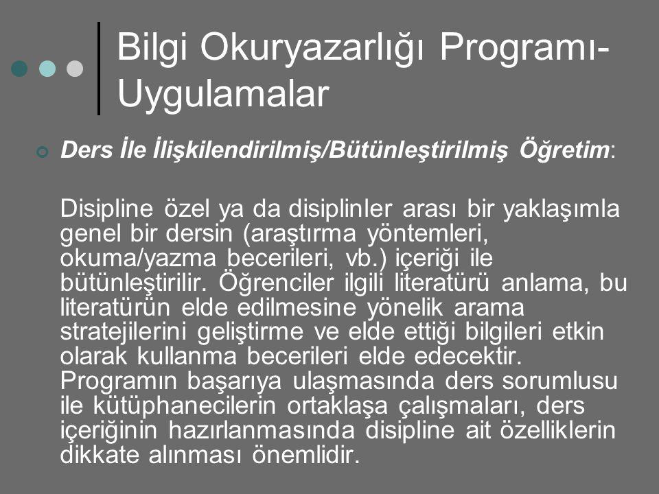 Bilgi Okuryazarlığı Programı- Uygulamalar Ders İle İlişkilendirilmiş/Bütünleştirilmiş Öğretim: Disipline özel ya da disiplinler arası bir yaklaşımla g