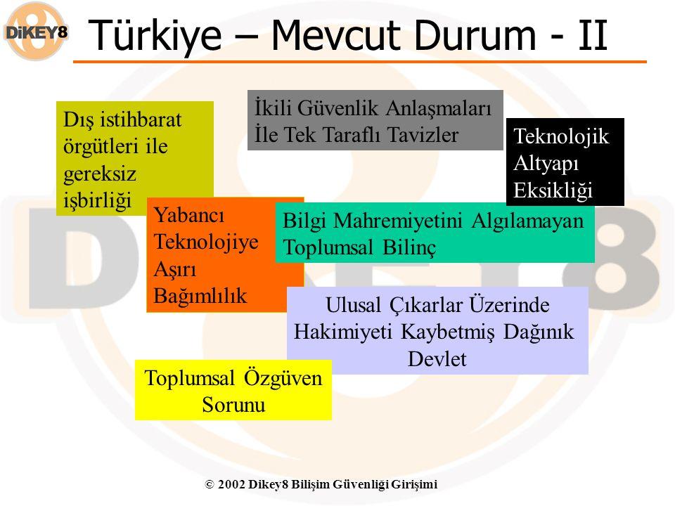 """© 2002 Dikey8 Bilişim Güvenliği Girişimi Türkiye – Mevcut Durum - I """" Bizim içimize sızmalarına gerek yok. Biz zaten onlara ikili güvenlik anlaşmaları"""