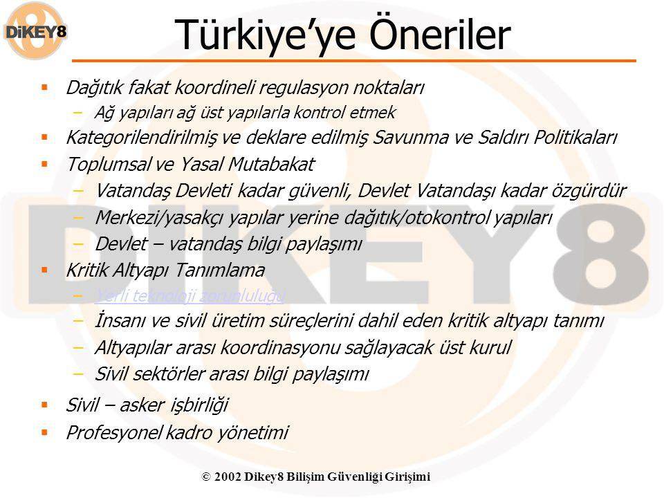© 2002 Dikey8 Bilişim Güvenliği Girişimi Türkiye – Mevcut Durum - II Dış istihbarat örgütleri ile gereksiz işbirliği Yabancı Teknolojiye Aşırı Bağımlı
