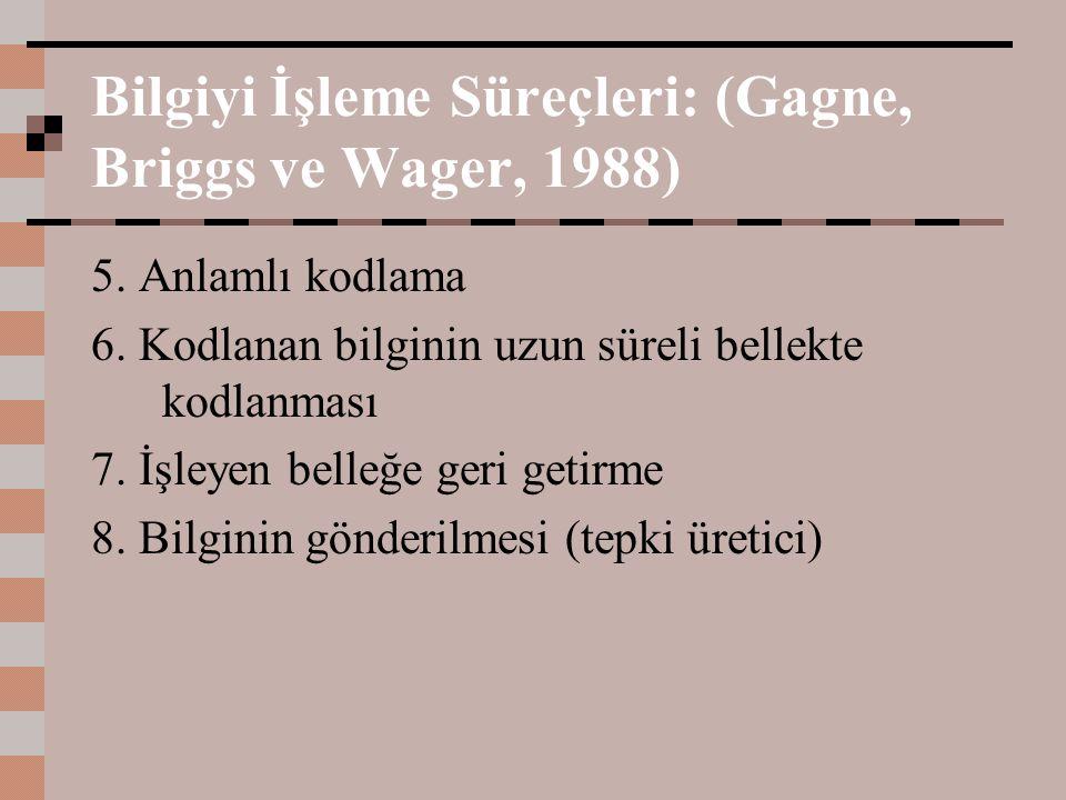 Bilgiyi İşleme Süreçleri: (Gagne, Briggs ve Wager, 1988) 5. Anlamlı kodlama 6. Kodlanan bilginin uzun süreli bellekte kodlanması 7. İşleyen belleğe ge