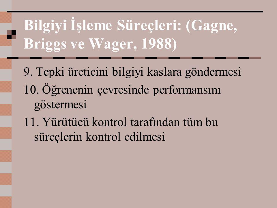Bilgiyi İşleme Süreçleri: (Gagne, Briggs ve Wager, 1988) 9. Tepki üreticini bilgiyi kaslara göndermesi 10. Öğrenenin çevresinde performansını gösterme