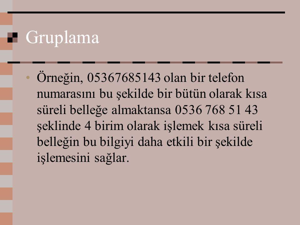 Gruplama Örneğin, 05367685143 olan bir telefon numarasını bu şekilde bir bütün olarak kısa süreli belleğe almaktansa 0536 768 51 43 şeklinde 4 birim o