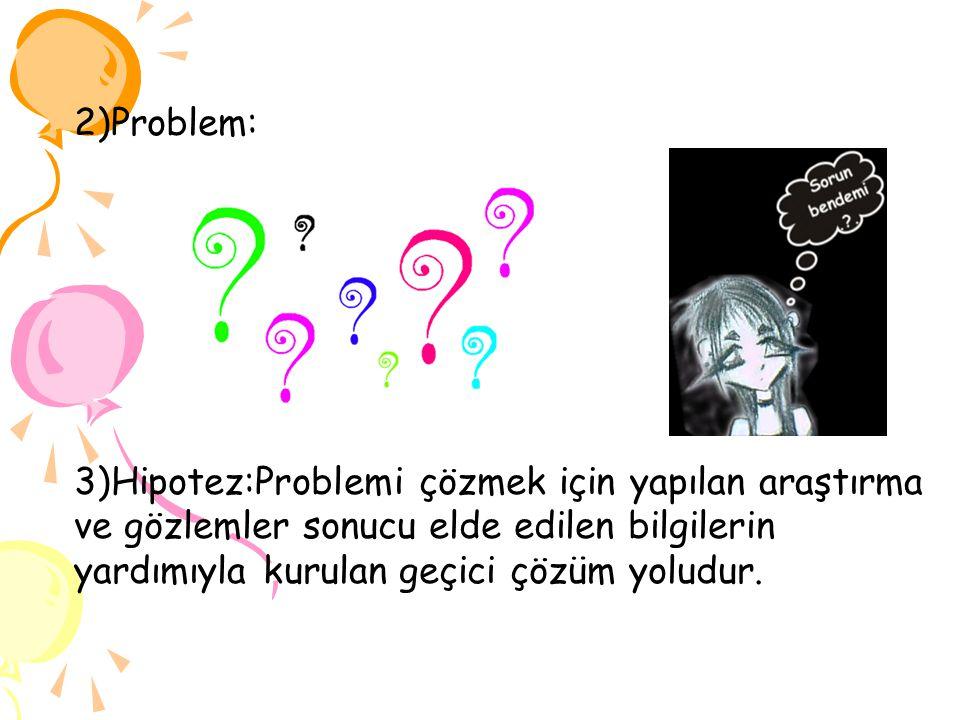 2)Problem: 3)Hipotez:Problemi çözmek için yapılan araştırma ve gözlemler sonucu elde edilen bilgilerin yardımıyla kurulan geçici çözüm yoludur.
