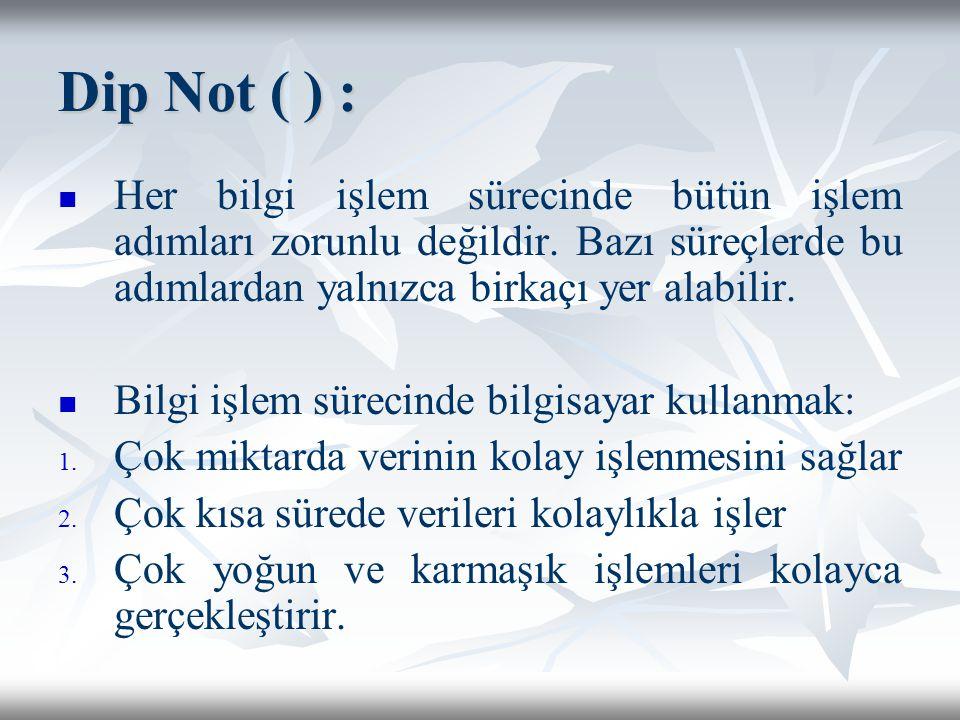 Dip Not ( ) : Her bilgi işlem sürecinde bütün işlem adımları zorunlu değildir.