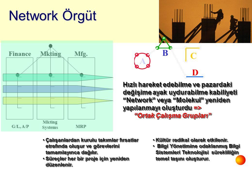 """FinanceMktingMfg. G/L, A/P Mkting Systems MRP Network Örgüt Hızlı hareket edebilme ve pazardaki değişime ayak uydurabilme kabiliyeti """"Network"""" veya """"M"""