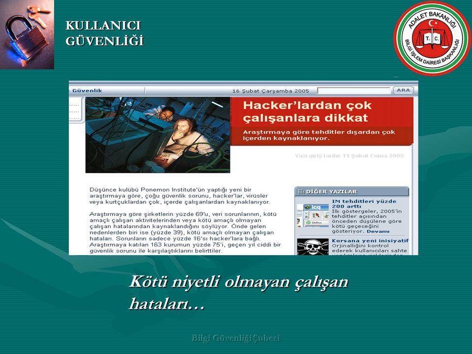 Bilgi Güvenliği Şubesi Aktive Directory kullanılmaktadır.
