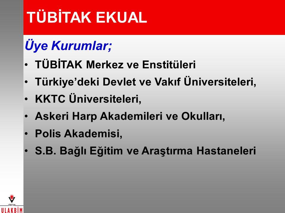 TÜBİTAK EKUAL Üye Kurumlar; TÜBİTAK Merkez ve Enstitüleri Türkiye'deki Devlet ve Vakıf Üniversiteleri, KKTC Üniversiteleri, Askeri Harp Akademileri ve