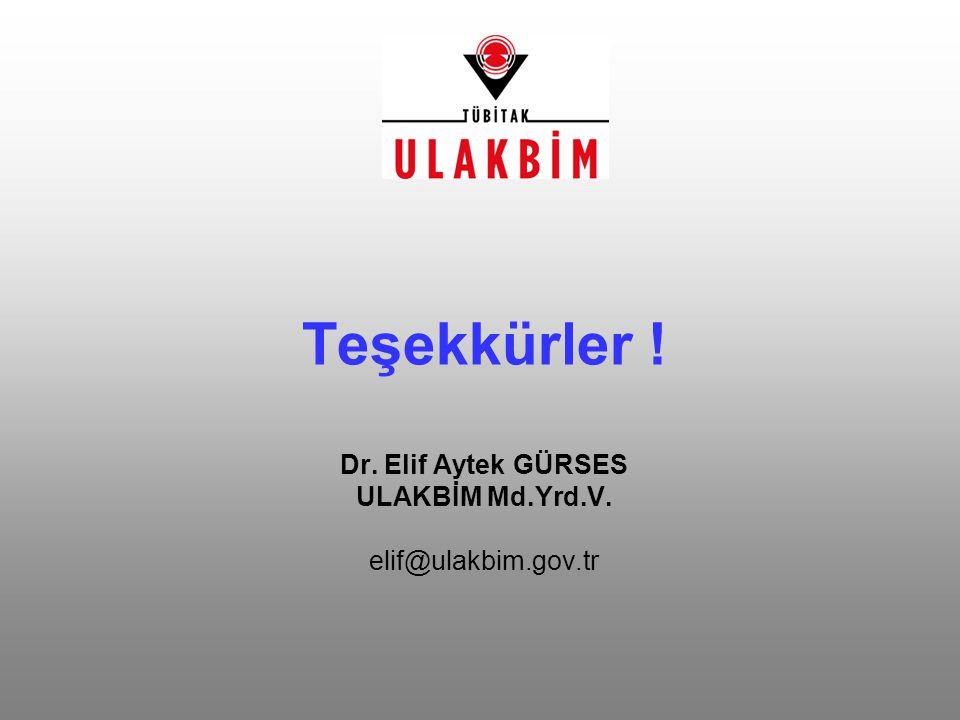 Teşekkürler ! Dr. Elif Aytek GÜRSES ULAKBİM Md.Yrd.V. elif@ulakbim.gov.tr