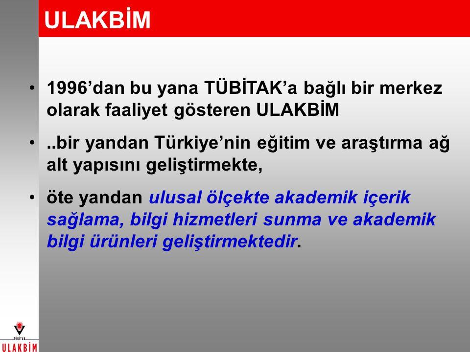 ULAKBİM 1996'dan bu yana TÜBİTAK'a bağlı bir merkez olarak faaliyet gösteren ULAKBİM..bir yandan Türkiye'nin eğitim ve araştırma ağ alt yapısını geliş
