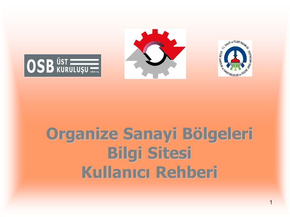 1 Organize Sanayi Bölgeleri Bilgi Sitesi Kullanıcı Rehberi