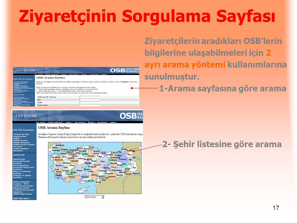 17 Ziyaretçinin Sorgulama Sayfası Ziyaretçilerin aradıkları OSB'lerin bilgilerine ulaşabilmeleri için 2 ayrı arama yöntemi kullanımlarına sunulmuştur.
