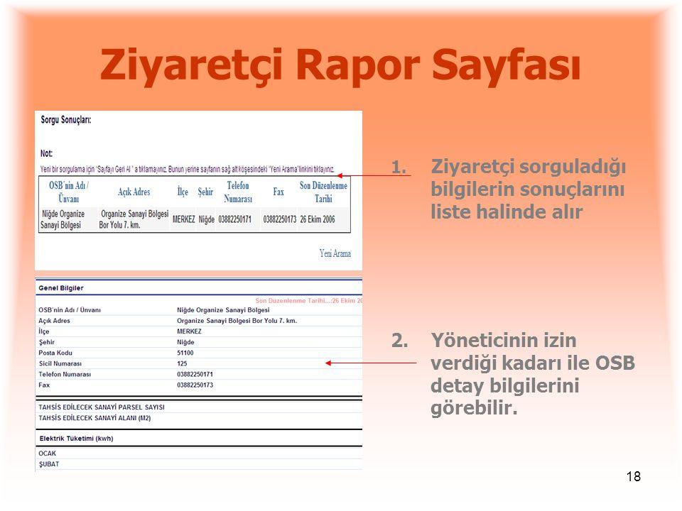 18 Ziyaretçi Rapor Sayfası 1. Ziyaretçi sorguladığı bilgilerin sonuçlarını liste halinde alır 2. Yöneticinin izin verdiği kadarı ile OSB detay bilgile