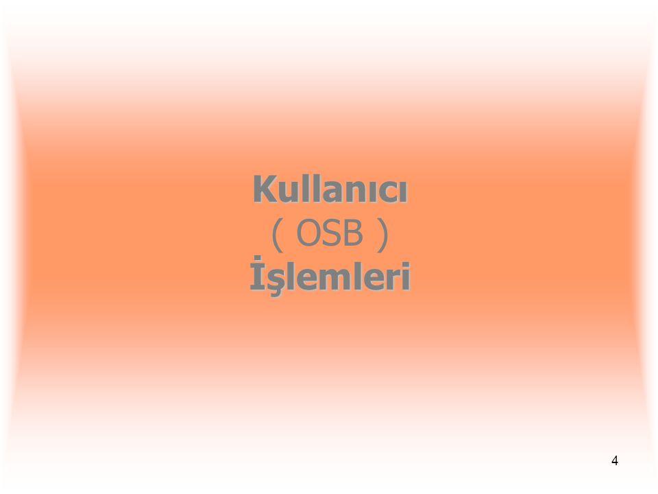 4 Kullanıcı İşlemleri Kullanıcı ( OSB ) İşlemleri