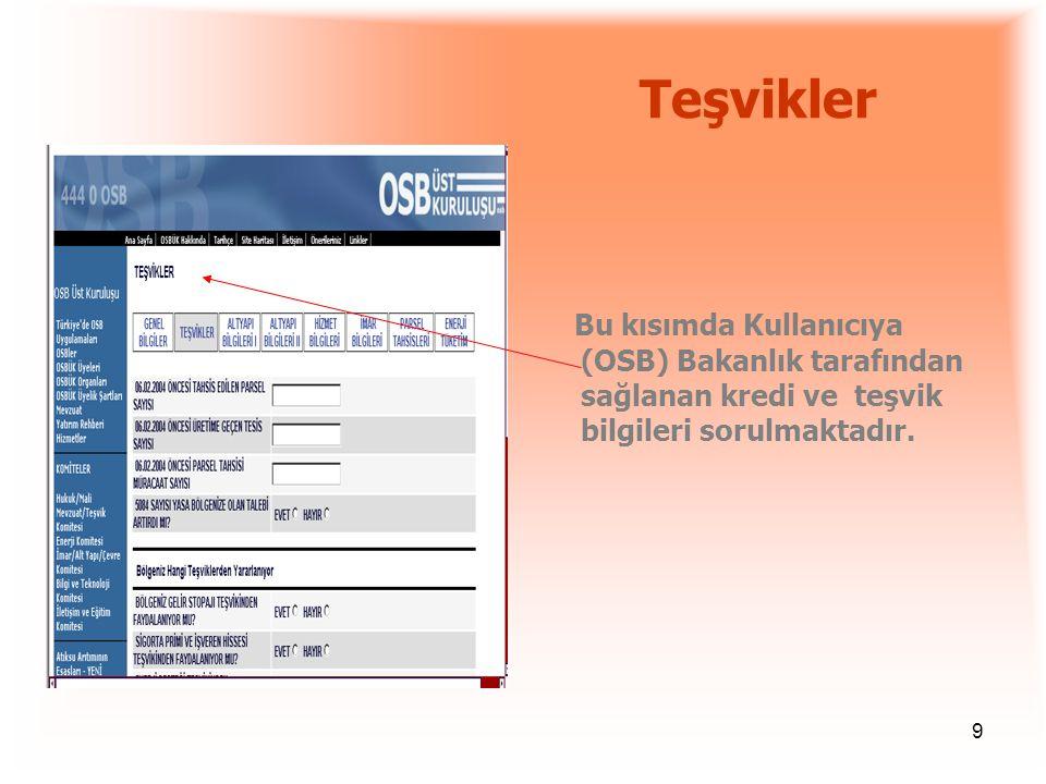 9 Teşvikler Bu kısımda Kullanıcıya (OSB) Bakanlık tarafından sağlanan kredi ve teşvik bilgileri sorulmaktadır.