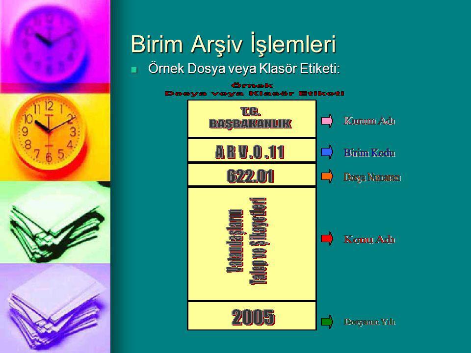 Birim Arşiv İşlemleri Örnek Dosya veya Klasör Etiketi: Örnek Dosya veya Klasör Etiketi: