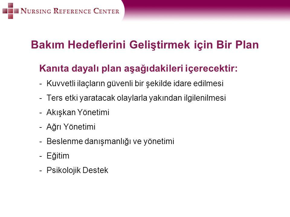 Bakım Hedeflerini Geliştirmek için Bir Plan Kanıta dayalı plan aşağıdakileri içerecektir: -Kuvvetli ilaçların güvenli bir şekilde idare edilmesi -Ters etki yaratacak olaylarla yakından ilgilenilmesi -Akışkan Yönetimi -Ağrı Yönetimi -Beslenme danışmanlığı ve yönetimi -Eğitim -Psikolojik Destek