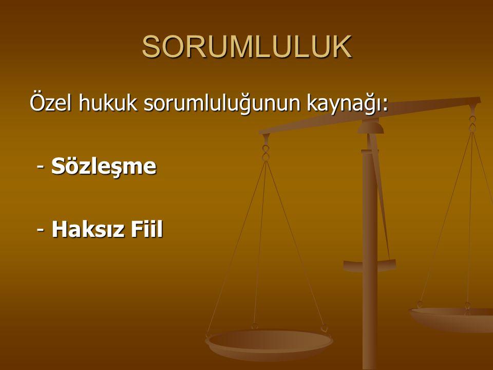 SORUMLULUK Özel hukuk sorumluluğunun kaynağı: - Sözleşme - Sözleşme - Haksız Fiil - Haksız Fiil