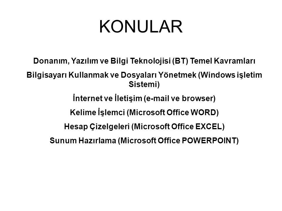 KONULAR Donanım, Yazılım ve Bilgi Teknolojisi (BT) Temel Kavramları Bilgisayarı Kullanmak ve Dosyaları Yönetmek (Windows işletim Sistemi) İnternet ve