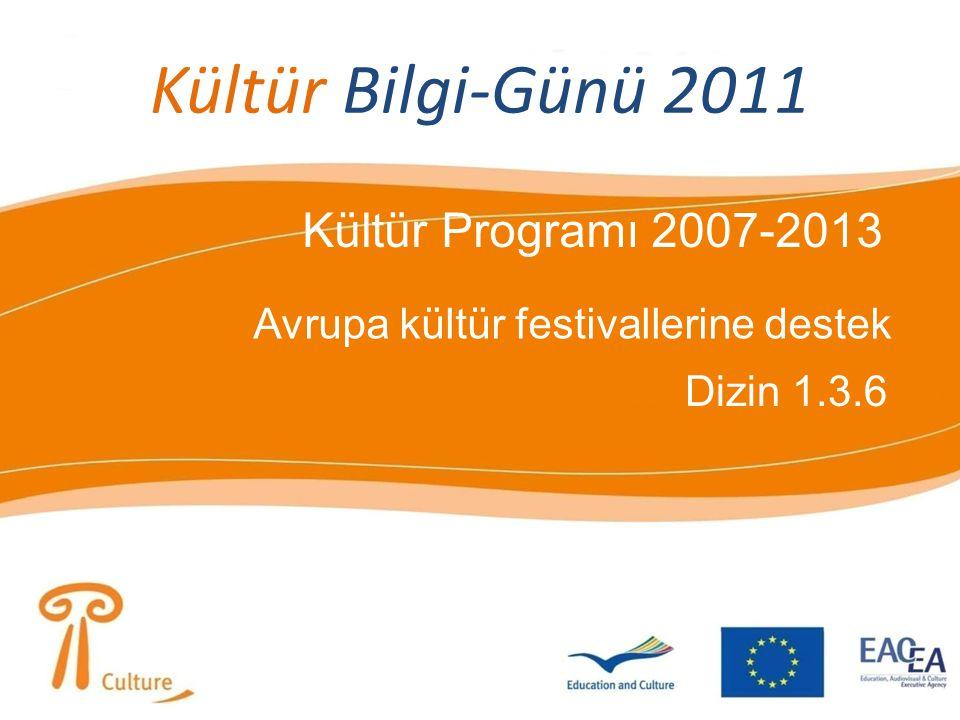 Kültür Bilgi-Günü 2011 Kültür Programı 2007-2013 Avrupa kültür festivallerine destek Dizin 1.3.6