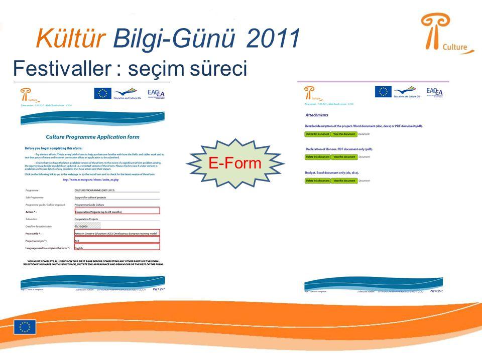 Kültür Bilgi-Günü 2011 E-Form Festivaller : seçim süreci
