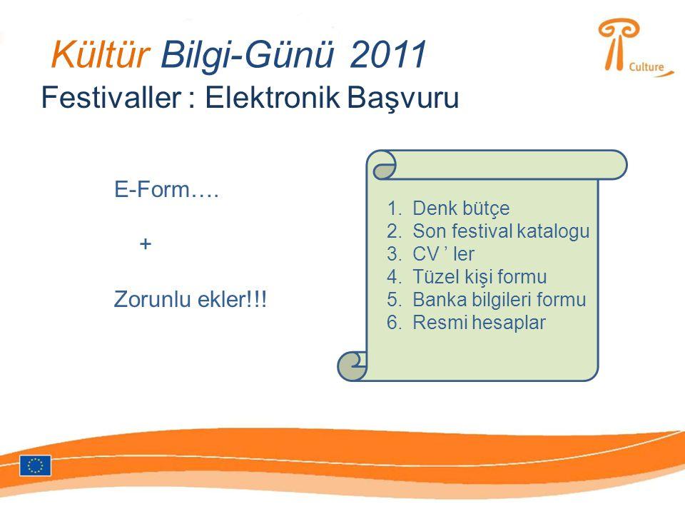 Kültür Bilgi-Günü 2011 Festivaller : Elektronik Başvuru E-Form….