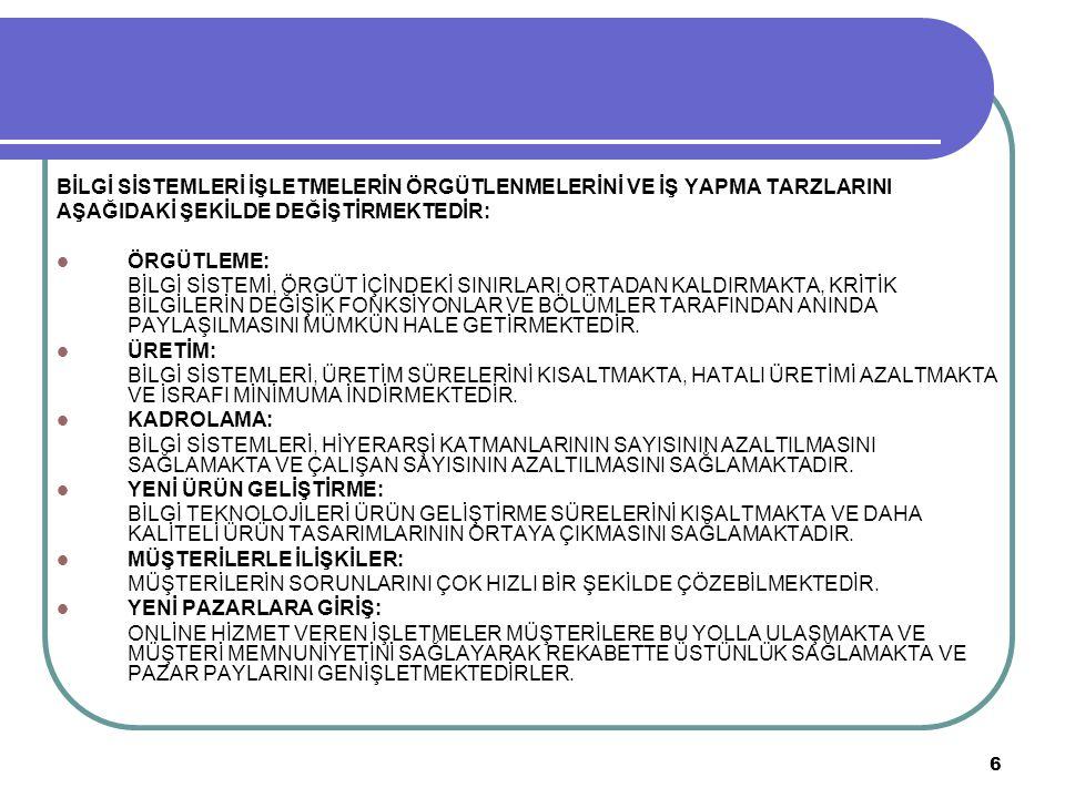 17 BİLGİ SİSTEMİ GELİŞTİRME SÜRECİ 3.