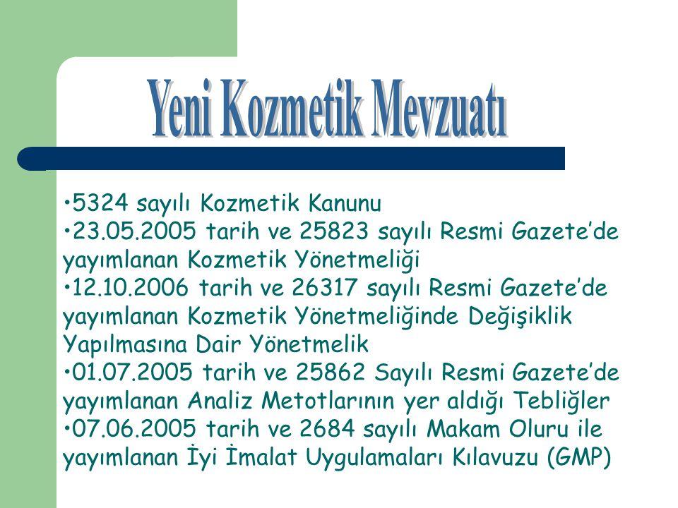 5324 sayılı Kozmetik Kanunu 23.05.2005 tarih ve 25823 sayılı Resmi Gazete'de yayımlanan Kozmetik Yönetmeliği 12.10.2006 tarih ve 26317 sayılı Resmi Ga